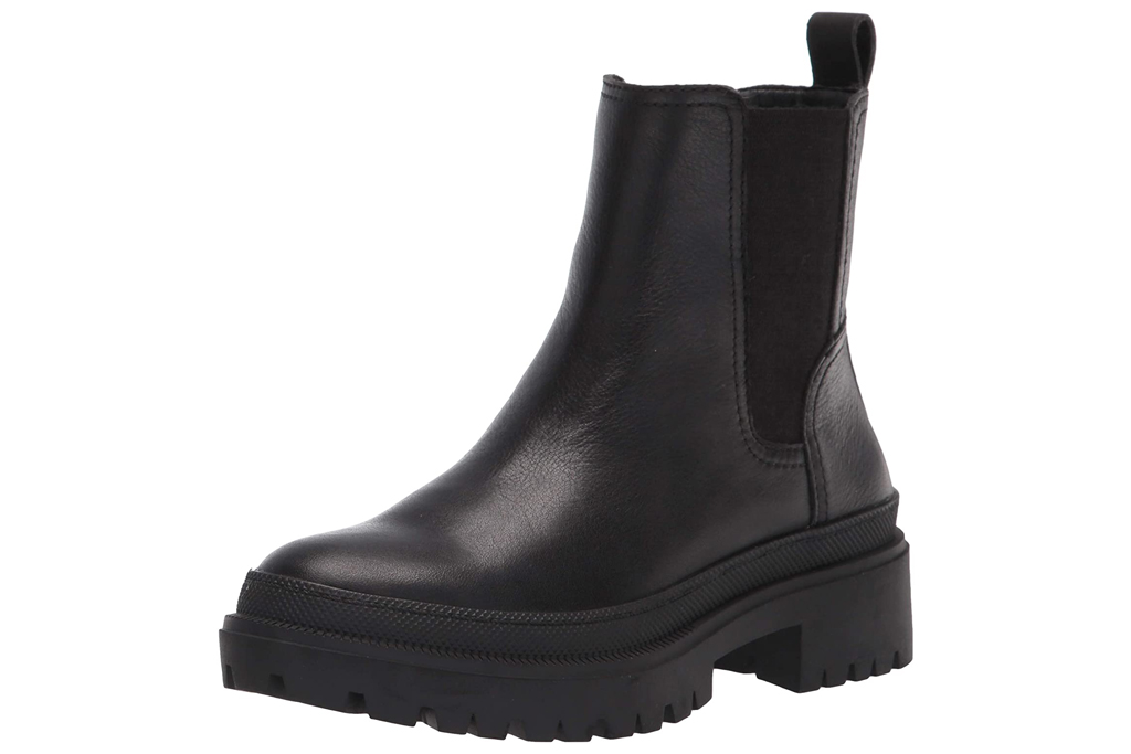 black boots, leather boots, lug sole, lucky brand