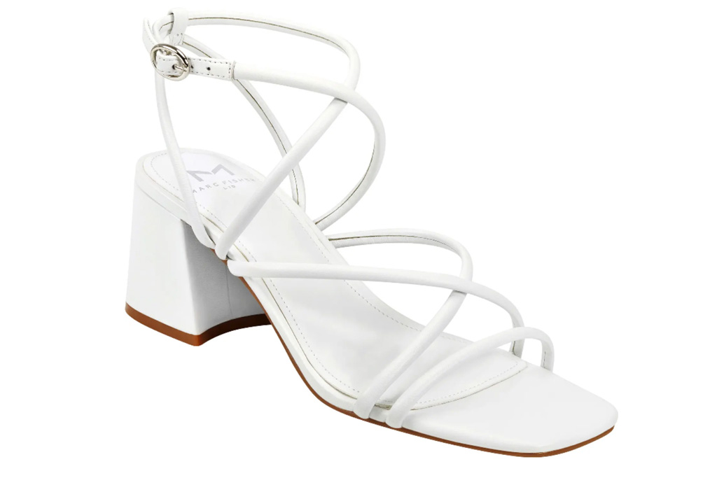 white sandals, square toe, marc fisher