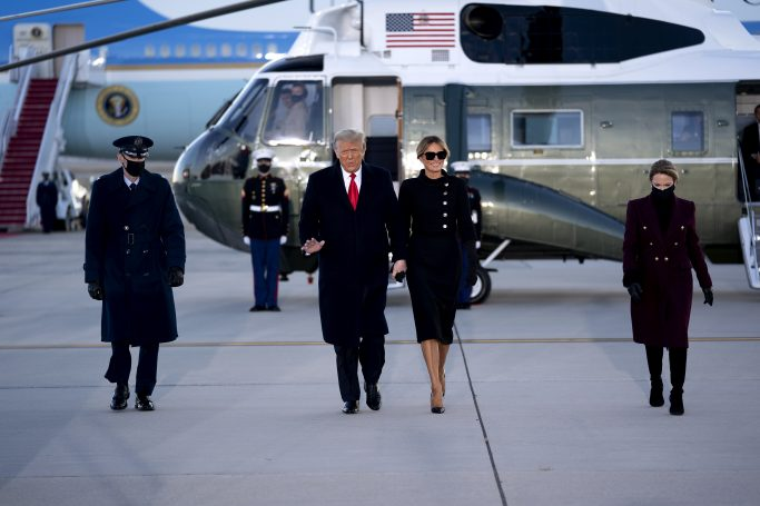 U.S. President Donald Trump, left, and U.S. First Lady Melania Trump arrive to a farewell ceremony at Joint Base Andrews, Maryland, U.S., on Wednesday, Jan. 20, 2021. Trump departs Washington with Americans more politically divided and more likely to be out of work than when he arrived, while awaiting trial for his second impeachment - an ignominious end to one of the most turbulent presidencies in American history. Credit: Stefani Reynolds / Pool via CNP. 20 Jan 2021 Pictured: U.S. President Donald Trump, center left, and U.S. First Lady Melania Trump arrive to a farewell ceremony at Joint Base Andrews, Maryland, U.S., on Wednesday, Jan. 20, 2021. Trump departs Washington with Americans more politically divided and more likely to be out of work than when he arrived, while awaiting trial for his second impeachment - an ignominious end to one of the most turbulent presidencies in American history. Credit: Stefani Reynolds / Pool via CNP. Photo credit: Stefani Reynolds - Pool via CNP / MEGA TheMegaAgency.com +1 888 505 6342 (Mega Agency TagID: MEGA727643_006.jpg) [Photo via Mega Agency]