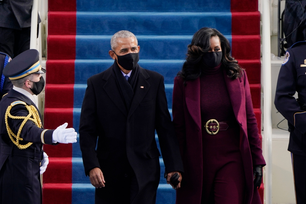 michelle obama, barack obama, inauguration, joe biden, dc, jumpsuit, red, coat, pants, belt, shoes, 2021