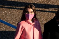 Natalie Biden Pops in a Custom Pink Coat & Slouchy Knee-High Boots at Inauguration 2021