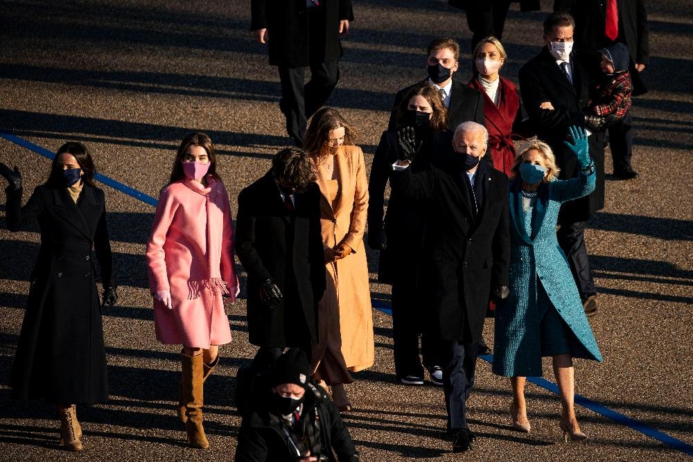 natalie biden, inauguration, coat, boots, dress, lafayette, dc, boots, joe biden, walk, parade