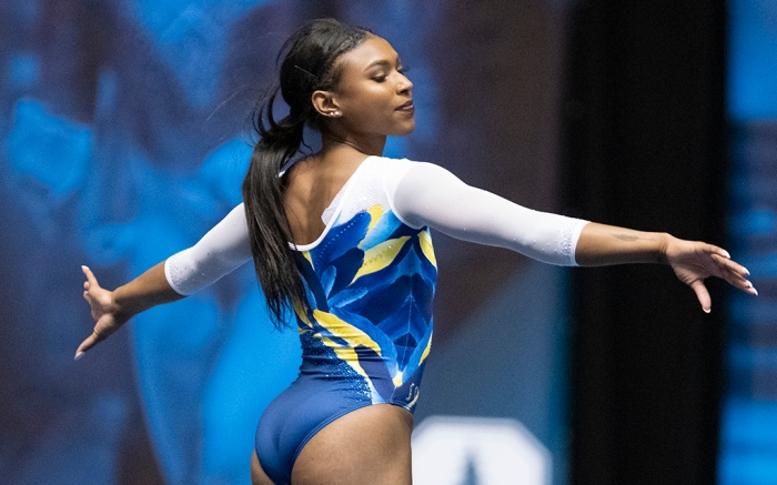 UCLA's Nia Dennis during an NCAA gymnastics meet on Saturday, Jan. 4, 2020 in Anaheim, Calif. (AP Photo/Kyusung Gong)