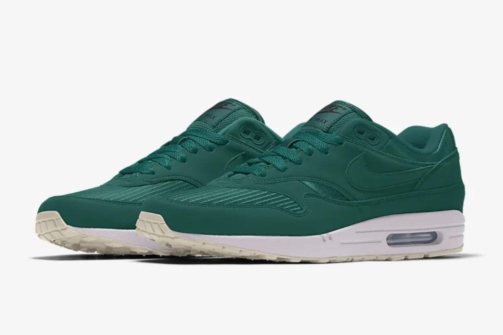 nike, air max 1, custom, green sneakers
