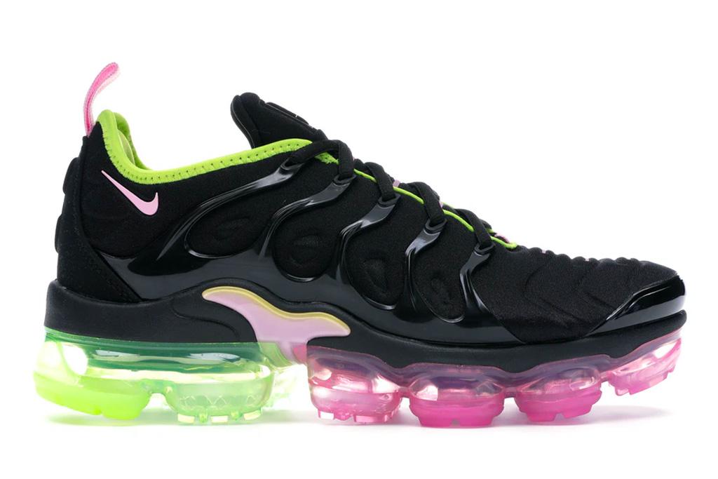 nike, air vapormax plus, green, pink, black