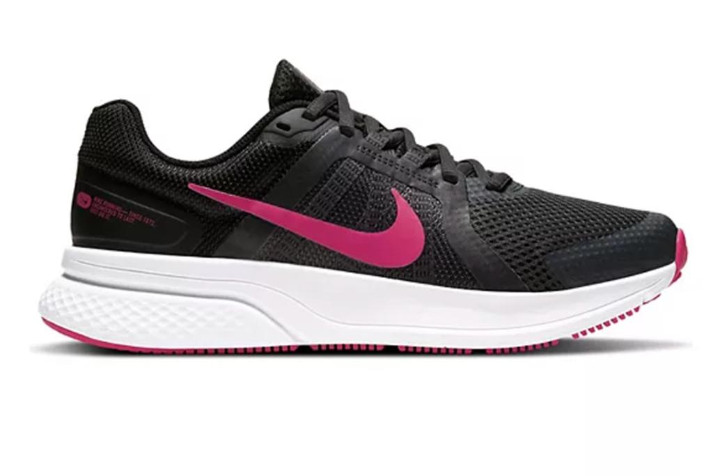 pink and black nike shoe, nike running shoe, nike sneakers