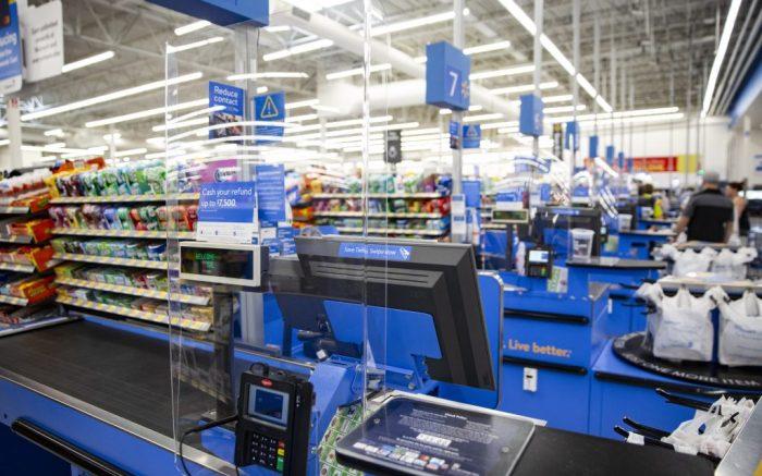 Walmart store plexiglass barrier at checkout