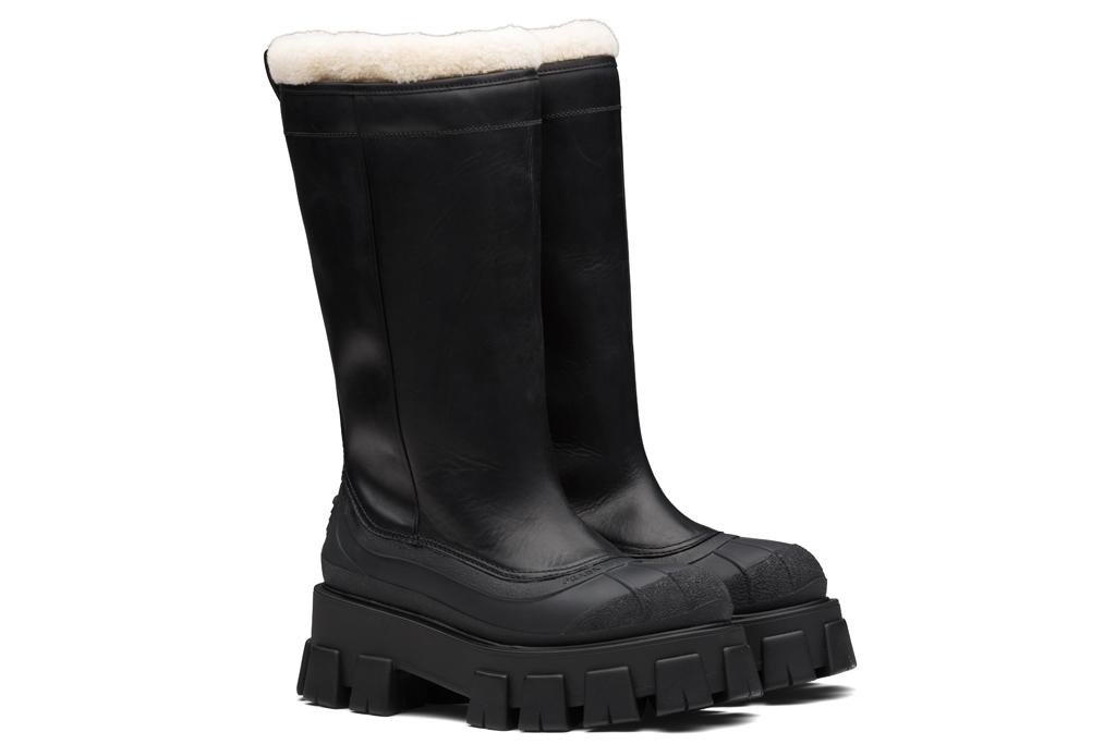 prada, monolith, boots, shearling