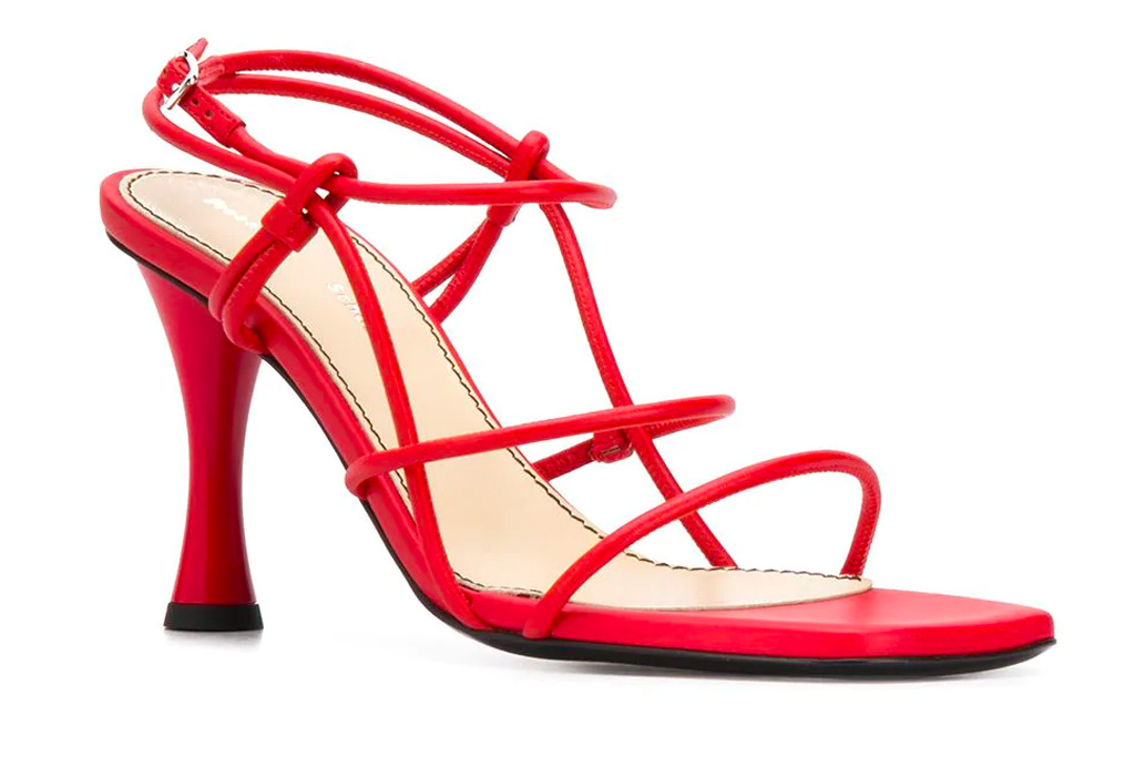 red sandals, studded, strappy, proenza schouler