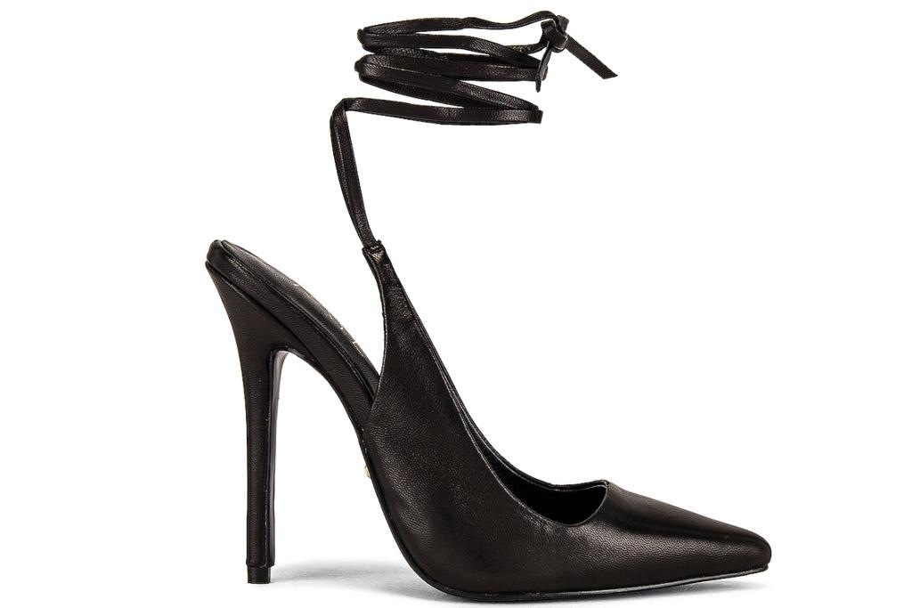 black heels, pointed toe, strappy, raye