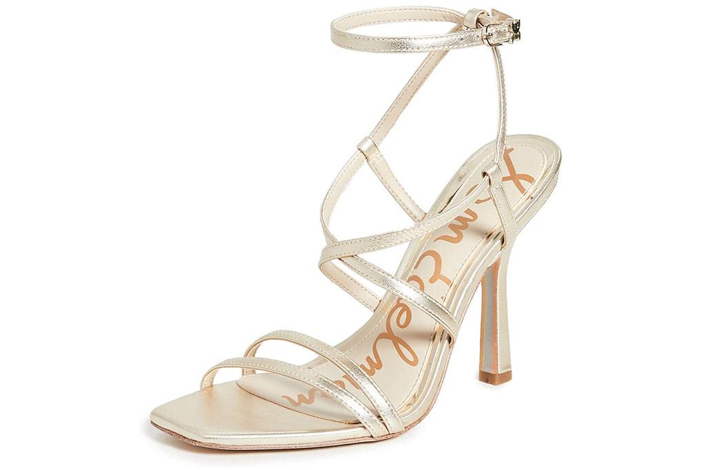 gold sandals, heels, sam edelman