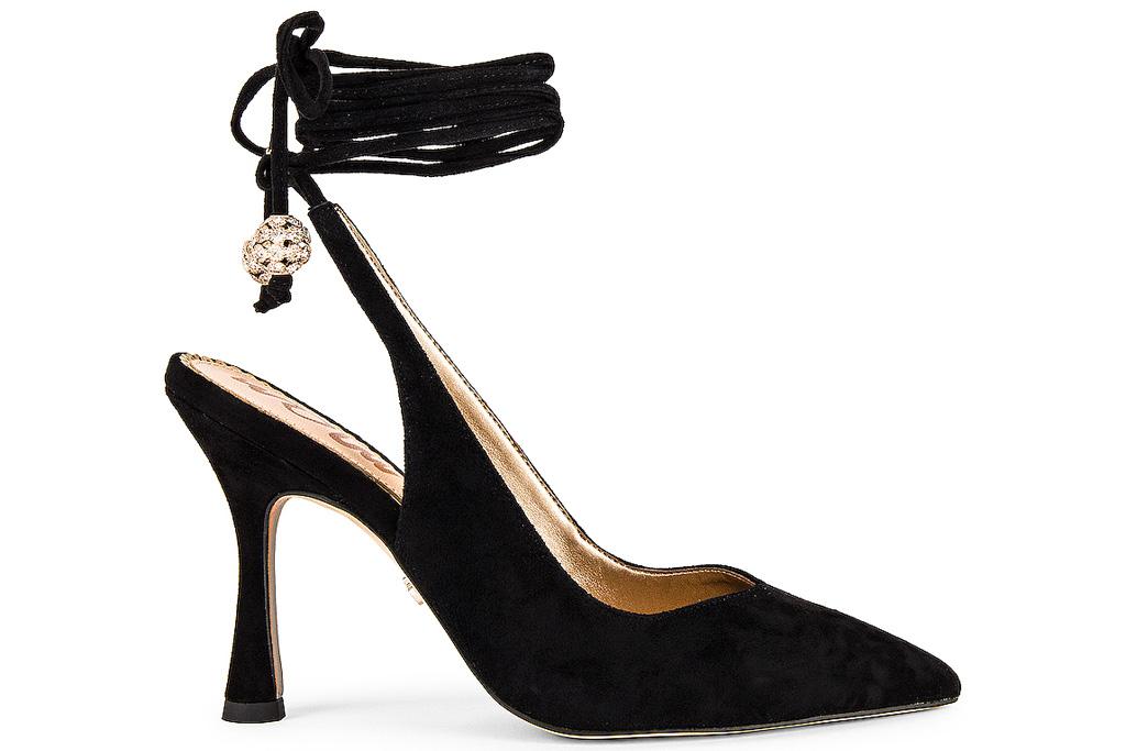 black heels, wrap, sam edelmaan