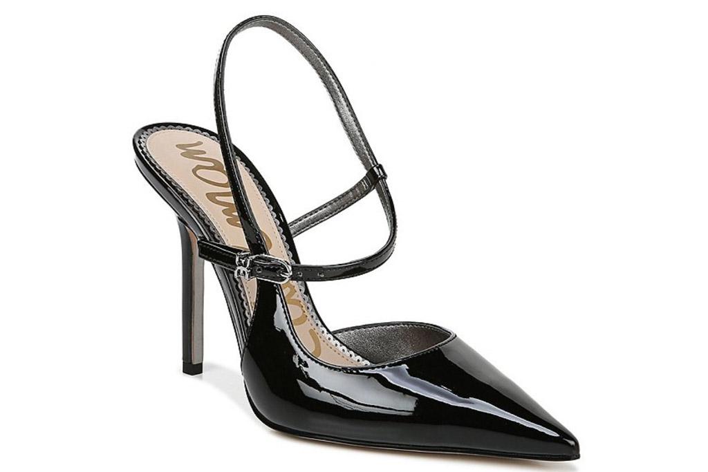 black heels, pointed toe, strappy, sam edelman