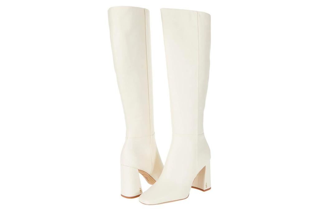 white boots, knee high, heeled, sam edelman