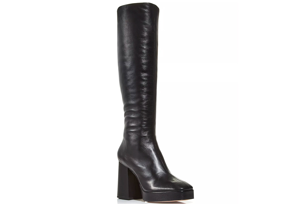 black boots, knee high, leather, lace up, schutz