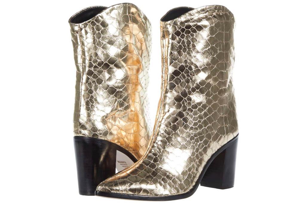 gold boots, boots, schutz