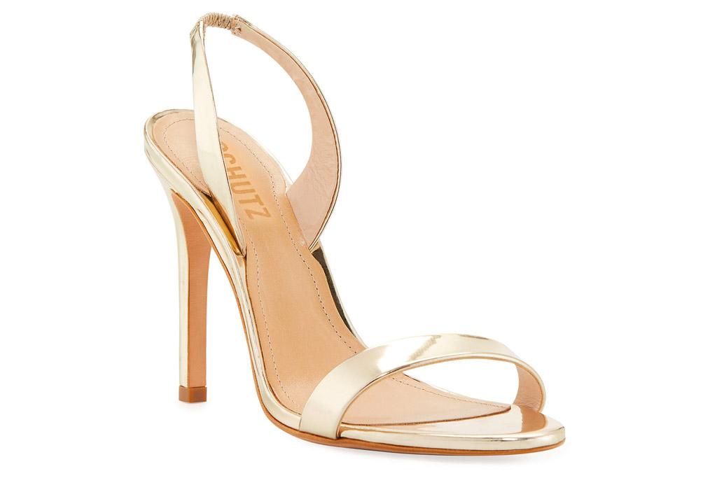 gold sandals, heels, schutz