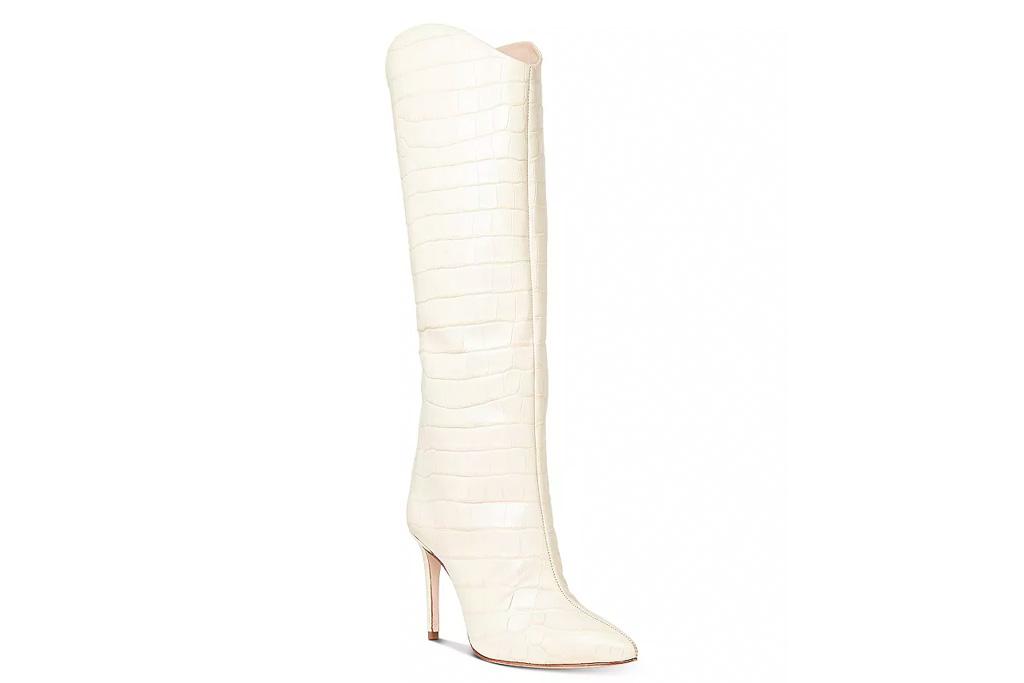 white boots, knee high, heeled, schutz