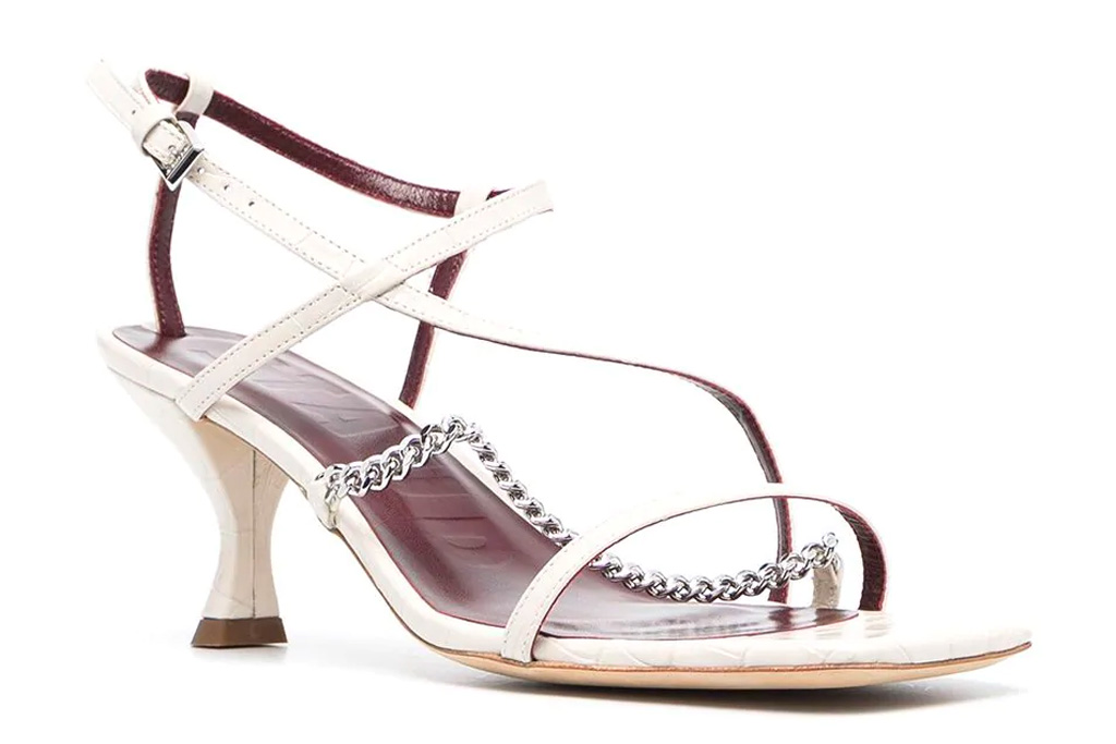 white sandals, chain, staud