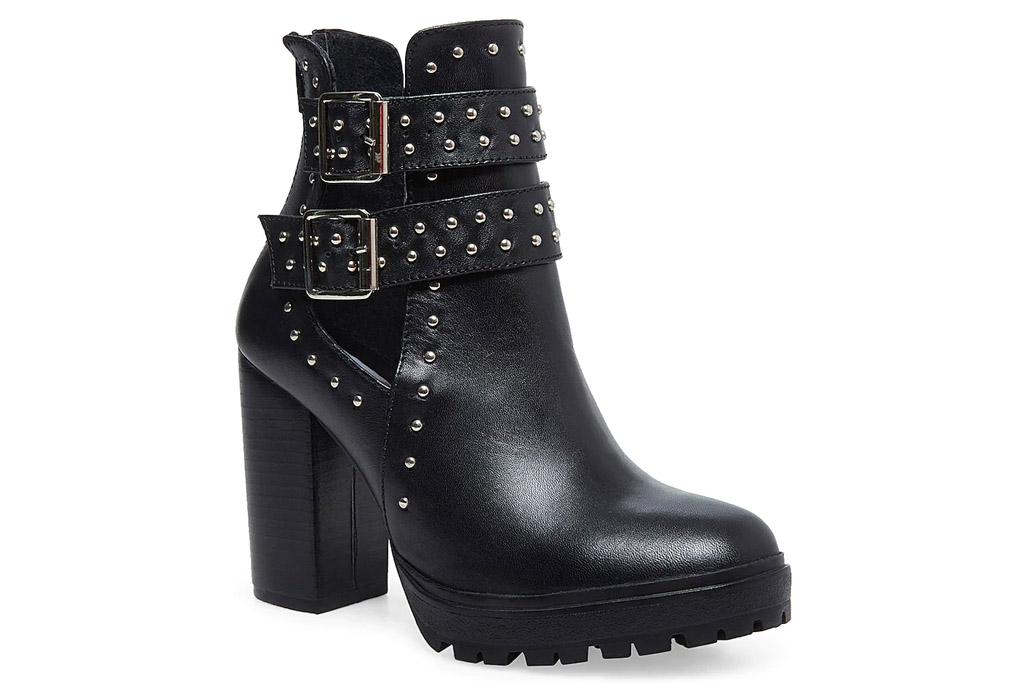 black boots, studded, heels, leather, steve madden