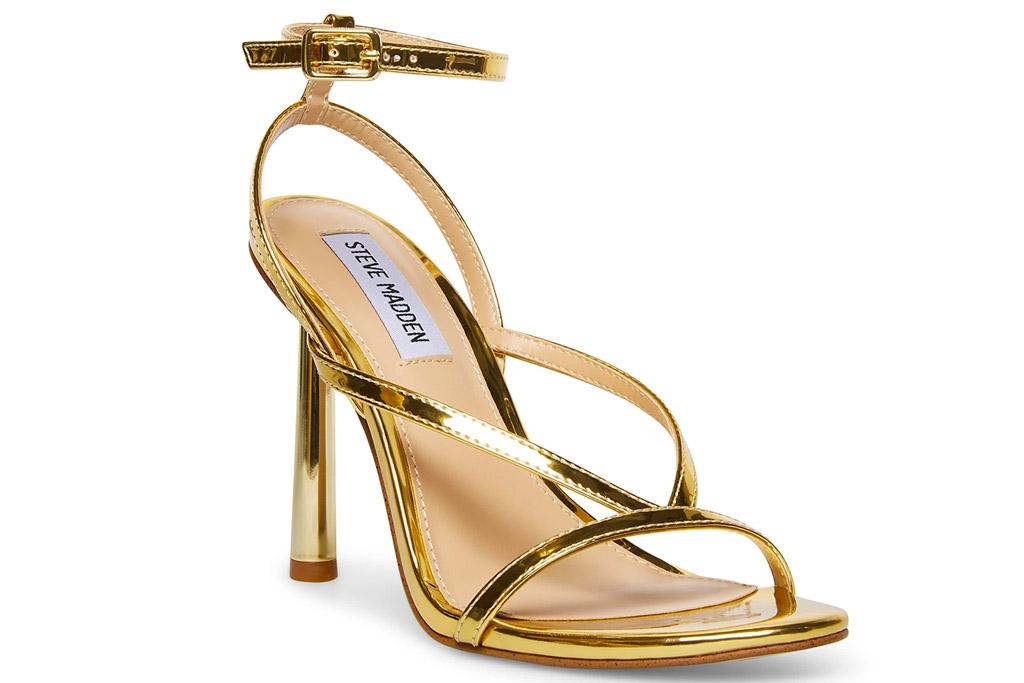 gold sandals, heels, steve madden