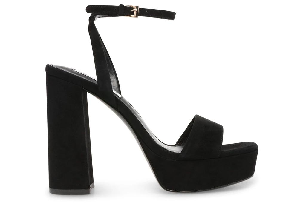 black sandals, platform, steve madden