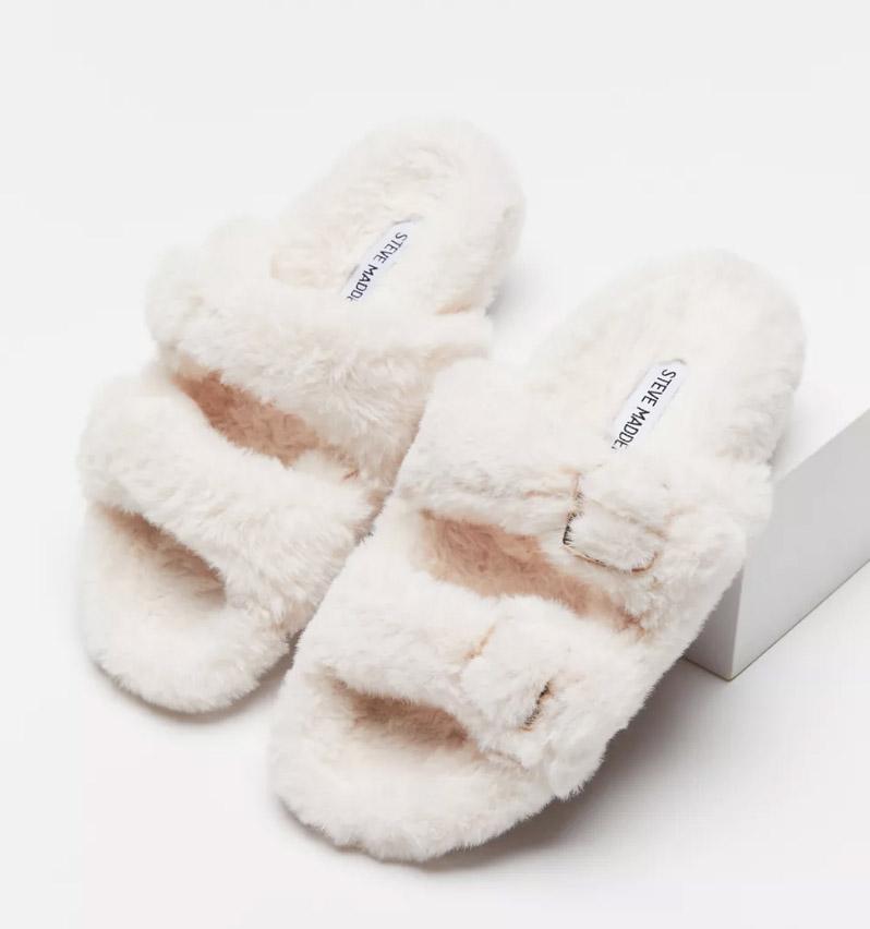 slippers, fuzzy, steve madden