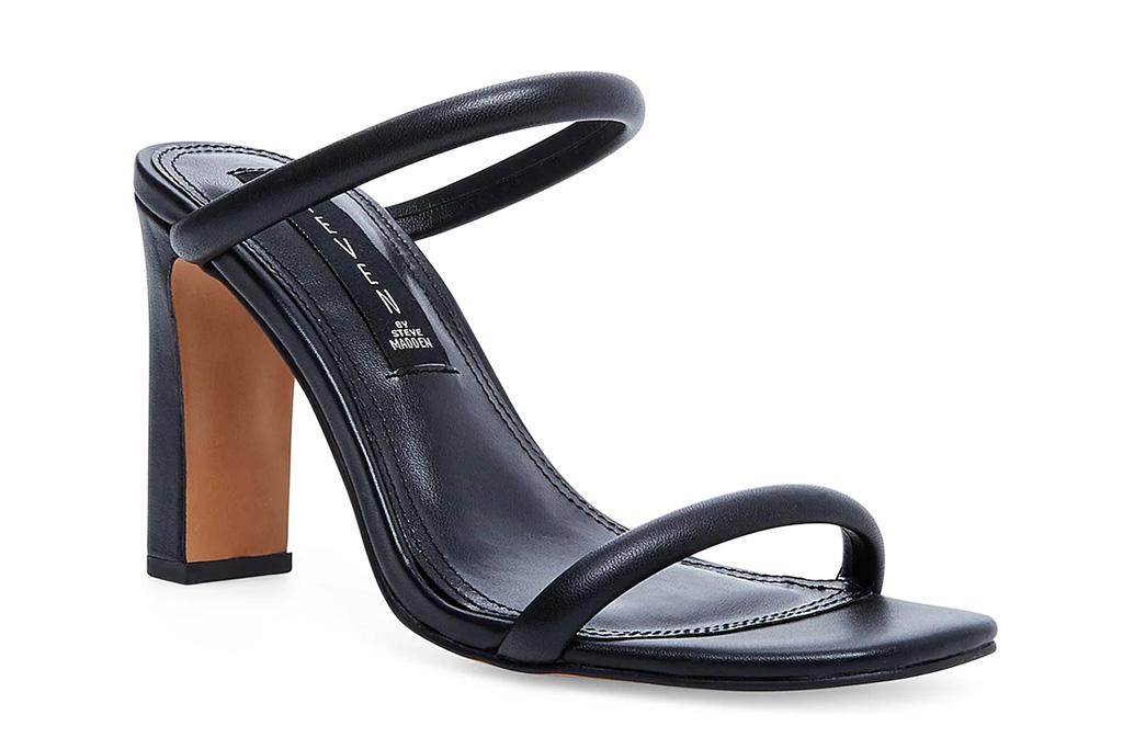 sandals, black, block heel, steven new york