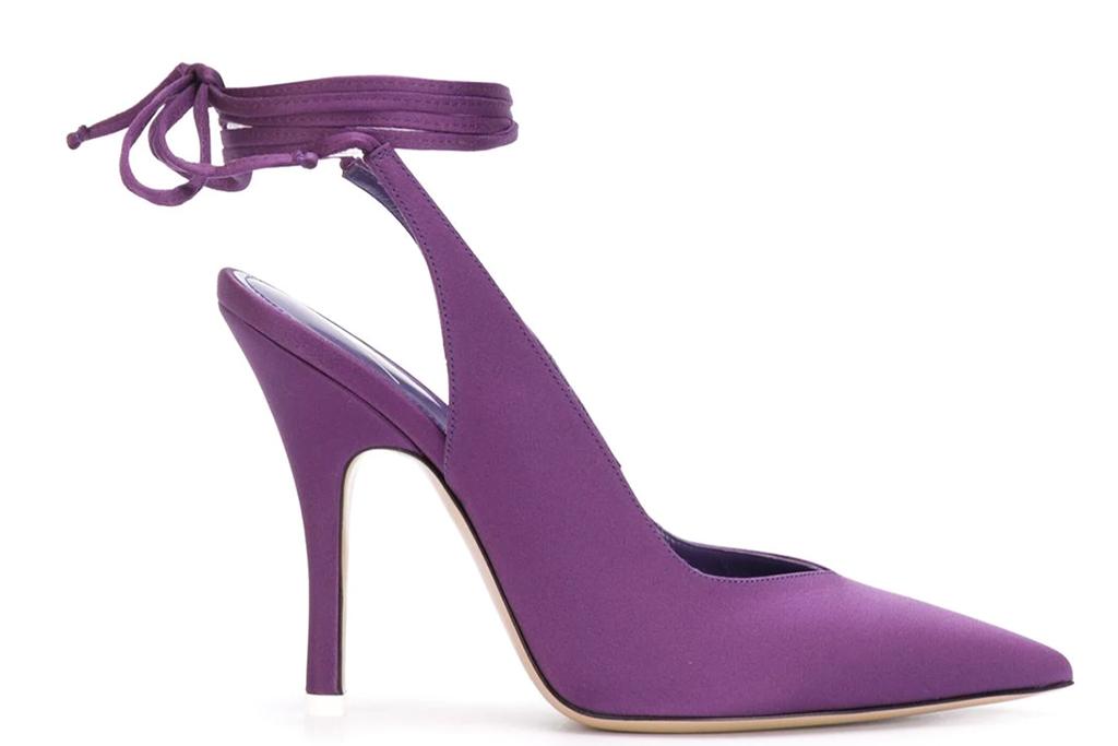 the attico, venus satin slingback pumps, purple pointed pumps