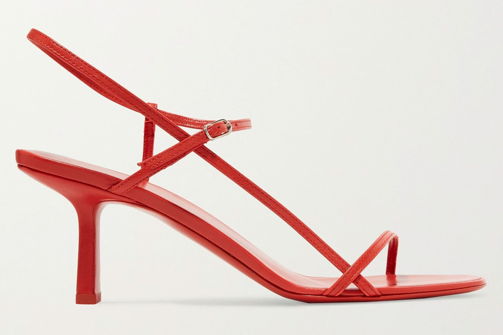 red sandals, heels, the row