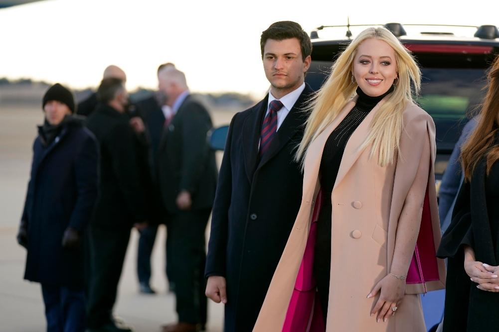 tiffany trump, michael boulos, melania trump, donald trump, farewell, leave white house, dress, coat, heels, mar-a-lago, last day