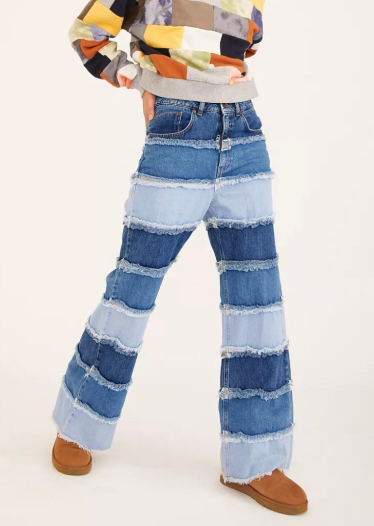 patchwork jeans, wide leg, urban outfitters