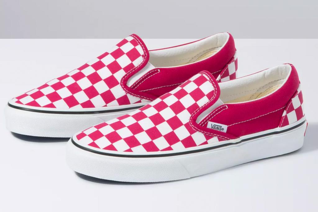 vans, checkerboard, sneakers, red
