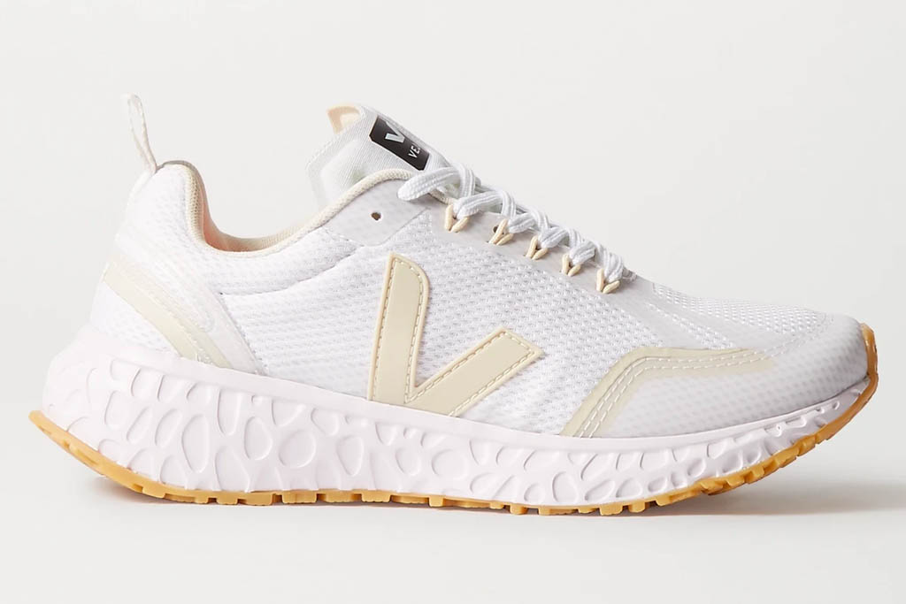 white sneakers, running shoes, veja