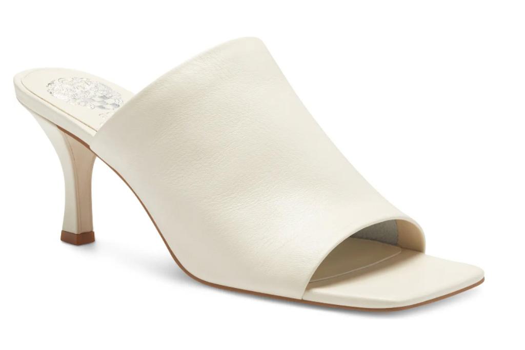 white mules, square-toe, vince camuto