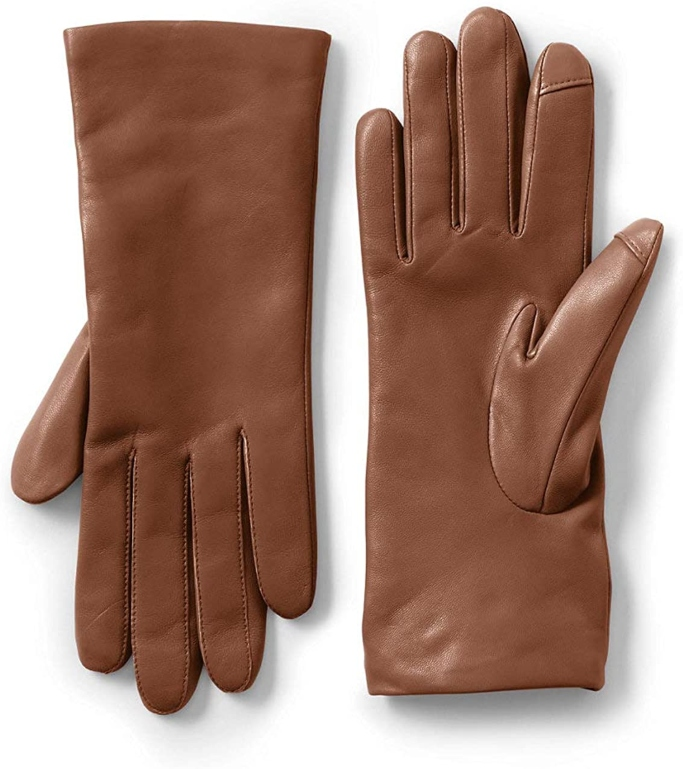 Lands' End EZ Touch Screen Cashmere Lined Leather Gloves