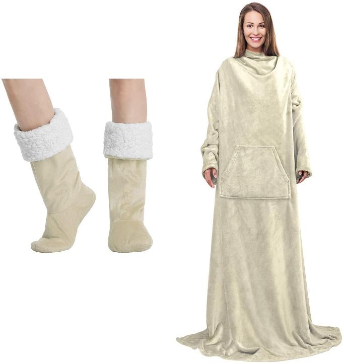 wearable blanket, Solaris fleece wearable blanket and slipper socks