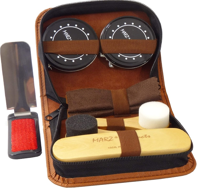Marz Deluxe Shoe Care Kit, travel shoe care kit