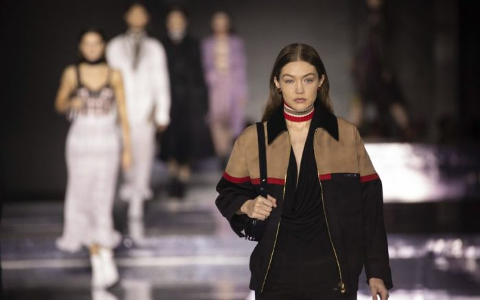"""FILE - In this Feb. 17, 2020 file photo, model Gigi Hadid wears a creation by designer Burberry at the Autumn/Winter 2020 fashion week runway show in London.  Hadid and musician boyfriend Zayn Malik took to social media, Thursday, Sept. 24,  to celebrate the arrival of an infant girl, with dad saying he's """"grateful"""" and """"thankful."""" (Photo by Vianney Le Caer/Invision/AP, File)"""