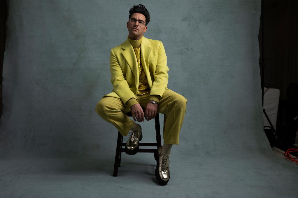 Dan Levy, Valentino yellow blazer, sequin turtleneck, pants