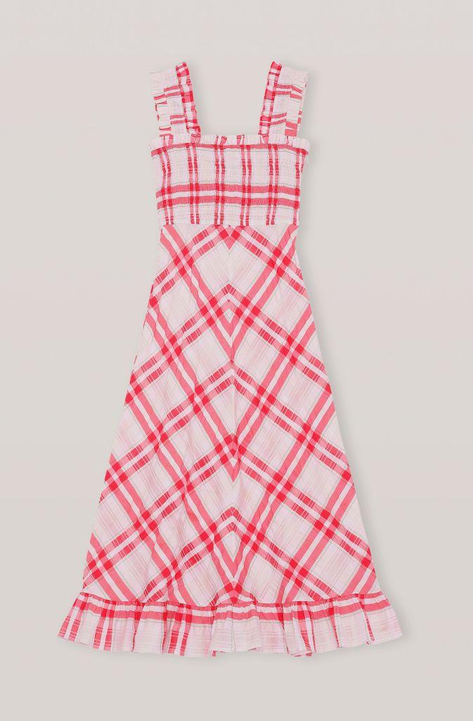 red dress, checkered, ganni