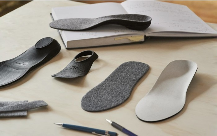 The disassembled pieces of a custom insole