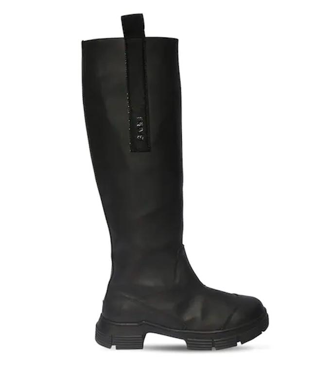 Ganni, black rain boots, lug sole boots, knee high boots