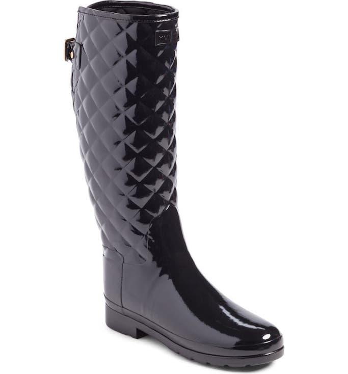 black rain boots, hunter rain boots