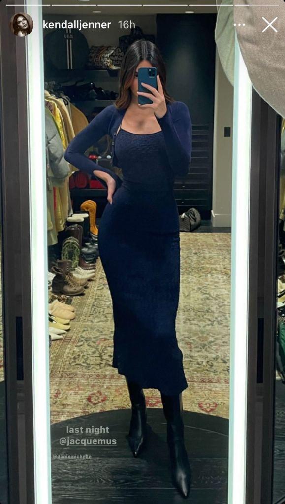 kendall jener, navy dress, jacquemus, sweater, cardigan, boots, knee-high boots, closet