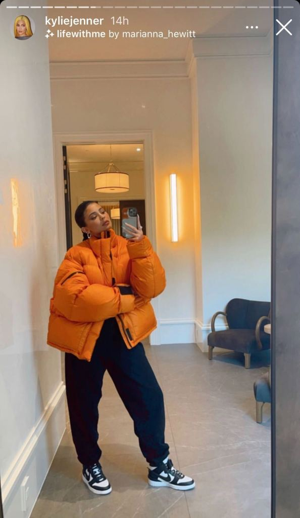 kylie jenner, jacket, puffer, pants, sneakers, air jordan, stormi, birthday