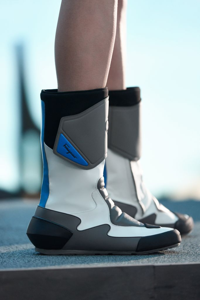 ferragamo fall '21, craziest shoes at milan fashion week, ferragamo fall biker boots