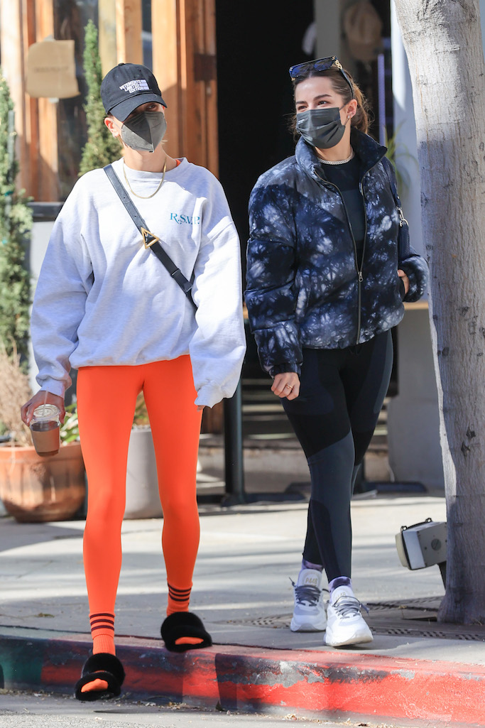 Hailey Bieber and Addison Rae enjoy breakfast together in Beverly Hills. 05 Feb 2021 Pictured: Hailey Bieber and Addison Rae enjoy breakfast together. Photo credit: Rachpoot/MEGA TheMegaAgency.com +1 888 505 6342 (Mega Agency TagID: MEGA731393_001.jpg) [Photo via Mega Agency]