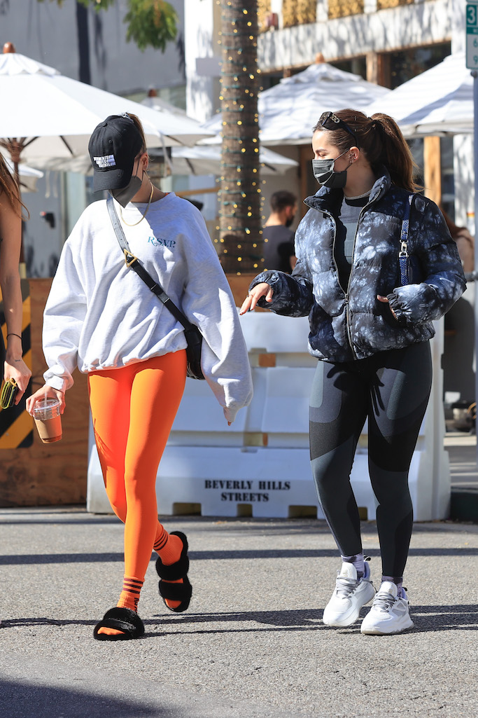 Hailey Bieber and Addison Rae enjoy breakfast together in Beverly Hills. 05 Feb 2021 Pictured: Hailey Bieber and Addison Rae enjoy breakfast together. Photo credit: Rachpoot/MEGA TheMegaAgency.com +1 888 505 6342 (Mega Agency TagID: MEGA731393_006.jpg) [Photo via Mega Agency]