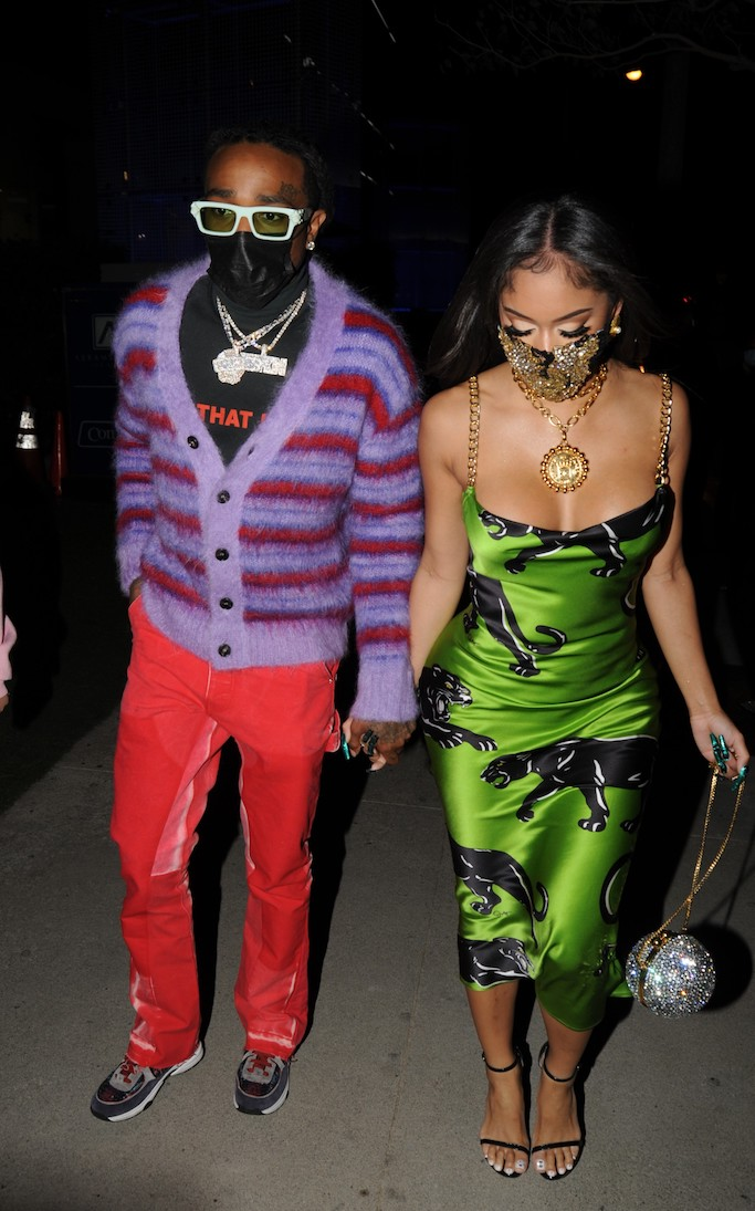 Rapper Quavo and girlfriend Saweetie have Valentine Day dinner at BOA Steakhouse in West Hollywood on February 14 2021. 14 Feb 2021 Pictured: Rapper Quavo and girlfriend Saweetie have Valentine Day dinner at BOA Steakhouse in West Hollywood on February 14 2021. Photo credit: twoeyephotos/MEGA TheMegaAgency.com +1 888 505 6342 (Mega Agency TagID: MEGA733534_003.jpg) [Photo via Mega Agency]